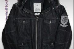 TOM TAILOR Leather Jacket Black Hood